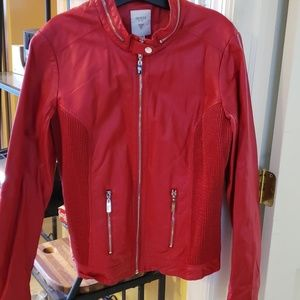 Red Guess faux leather
